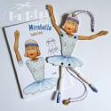 Mirabella pantin - papír figura, Játék, Képzőművészet , Baba-mama-gyerek, Báb, Baba-és bábkészítés, Papírművészet, Az A/6-os méretű képeslapból az instrukciók követésével egy mozgatható figura készíthető el. Kivágv..., Meska