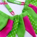 PINK-LIME 5 zsebes tartó   bunting, Baba-mama-gyerek, Gyerekszoba, Falvédő, takaró, Tárolóeszköz - gyerekszobába, Varrás, 1.Ezt az 5 zsebes tartót pink és zöld pöttyös anyagból varrtam, szívvel, gombbal és szalaggal díszí..., Meska