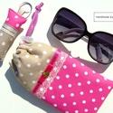 DRAPP-PINK szett, Táska, Pénztárca, tok, tárca, Szemüvegtartó, Varrás, Patchwork, foltvarrás, DRAPP-PINK szett:  1. Drapp és pink, pöttyös, csipkés szemüvegtok. 10cm*19cm-es, vastag vatelin rét..., Meska