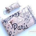 VINTAGE PARIS szett, Táska, Mindenmás, Neszesszer, Kulcstartó, Varrás, Patchwork, foltvarrás, VINTAGE PARIS szett:  1. Romantikus neszi, tolltartó, cipzáras tároló...használd amire szeretnéd :O..., Meska