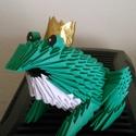 3d origami békakirály, Dekoráció, Játék, Dísz, Játékfigura, Papírművészet, Egy kis békakirály papírból. Kedves ajándék, azoknak, akik még hisznek a mesékben, vagy csak szeret..., Meska