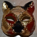 Velencei maszk / álarc / macska , Dekoráció, Képzőművészet, Ünnepi dekoráció, Vegyes technika, Papírmaséból készült, hordható egyedi velencei stílusú macska maszk.   A fotón még nincs a maszkon a..., Meska