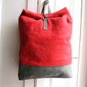 Piros  viaszolt vászon és szürke bőr  hátizsák, Táska, Hátizsák, Varrás, A képen látható hátizsák bőr és általam viaszolt brazil vászon felhasználásával készült.   Mérete: ..., Meska