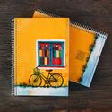 Biciklis füzet, Képzőművészet , Képeslap, album, füzet, Illusztráció, Jegyzetfüzet, napló, naptár, Fotó, grafika, rajz, illusztráció, Könyvkötés, Biciklis illusztrációs nyomdában készült füzet - mérete: A5 (14.8x21.0 cm) - 100 lapos - spirál füz..., Meska