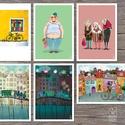 Biciklis és Vonatos illusztrációk, Képzőművészet, Otthon, lakberendezés, Illusztráció, Fotó, grafika, rajz, illusztráció, 6 darab digitális print biciklis és vonatos illusztrációkkal ideális gyerekszobába dekorációként, f..., Meska