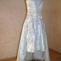 jégvirág (uszályos báli ruha), Magyar motívumokkal, Ruha, divat, cipő, Esküvői ruha, Női ruha, Horgolás, Varrás, -gleccserkék szatén és pamut anyagból készült báli ruha, mely esküvői ruhaként is viselhető - egye..., Meska