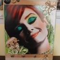Audrey kulcstartó, mozirajongóknak, bevállalósoknak! :-), Dekoráció, Mindenmás, Otthon, lakberendezés, Kulcstartó, Decoupage, szalvétatechnika, Festett tárgyak, Nagyméretű fali kulcstartó, melyet festettem, lakkoztam és Audrey Hepburn fotójával díszítettem. Bo..., Meska