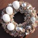 Adventi koszorú, ezüst angyallal. :-), Dekoráció, Karácsonyi, adventi apróságok, Ünnepi dekoráció, Karácsonyi dekoráció, Virágkötés, Adventi koszorú, téli színekkel, hófehérrel és ezüsttel. Díszítsd vele otthonod, vagy ajándékozd va..., Meska