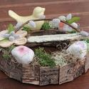 Tavaszi dekoráció, felirattal és madárkával. :-), Dekoráció, Otthon, lakberendezés, Ünnepi dekoráció, Húsvéti apróságok, Virágkötés, Egyedi asztaldísz természetes anyagokból, mellyel becsempészhetsz egy kis tavaszt az otthonodba. :-..., Meska