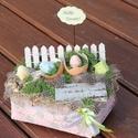 Húsvéti dekoráció, feliratos táblával és tojásokkal. :-), Dekoráció, Ünnepi dekoráció, Húsvéti apróságok, Virágkötés, Egyedi asztaldísz természetes anyagokból, mellyel húsvéti hangulatba hozhatod otthonod. :-) A kosar..., Meska