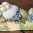 Húsvéti dekoráció, báránykával és tojásokkal. :-), Dekoráció, Ünnepi dekoráció, Húsvéti apróságok, Virágkötés, Egyedi asztaldísz természetes anyagokból, mellyel húsvéti hangulatba hozhatod otthonod. :-) A fa do..., Meska
