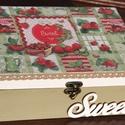 """Epres tea doboz, """"Sweet"""" felirattal.  :-), Konyhafelszerelés, Decoupage, szalvétatechnika, Festett tárgyak, Epres teás doboz, vidéki hangulattal. :-) A fa doboz felső részét hófehérre, az alsó részt pedig zö..., Meska"""