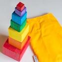 Fa montessori torony , Baba-mama-gyerek, Játék, Fajáték, Készségfejlesztő játék, Festett tárgyak, Borovi fenyő kockák lazúrral kezelve. A játék 7 db különböző méretű kockából áll.   A játék segítsé..., Meska