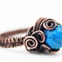 Egzotikus türknit köves rézgyűrű, Ékszer, óra, Gyűrű, Ékszerkészítés, Fémmegmunkálás, Valami igazán egyedi darab.A drótékszert vörösrézből hajlítottam és 1 db 10 mm-es türknittel díszít..., Meska