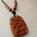 Budhista sárkány vörösrézzel díszített nyaklánc ( unisex), Ékszer, óra, Férfiaknak, Nyaklánc, Medál, Ékszerkészítés, Ötvös,  Budhista szimbólumot, egyedi kézműves fából faragott medált raktam bőrszálra két általam maratott ..., Meska