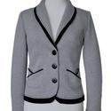 Női zakó - világosszürke/fehér, Ruha, divat, cipő, Női ruha, Kosztüm, Kabát, Varrás, Jellemzően  sportos-elegáns, kényelmes viselésű ruhadarab. Az év összes évszakában viselhető. Termé..., Meska
