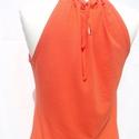 Nyári top - dark orange, Ruha, divat, cipő, Női ruha, Felsőrész, póló, Varrás, Egy igazi nyári top fedetlen vállal, hátul kötővel a nyak körül. Összetétel: 95% viszkóz, 5% lycra ..., Meska