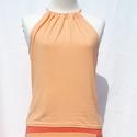 Nyári top - light orange, Ruha, divat, cipő, Női ruha, Felsőrész, póló, Varrás, Egy igazi nyári top fedetlen vállal, hátul kötővel a nyak körül. Összetétel: 95% viszkóz, 5% lycra ..., Meska