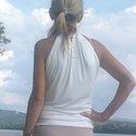 Nyári top - off white, Ruha, divat, cipő, Női ruha, Felsőrész, póló, Varrás, Egy igazi nyári top fedetlen vállal, hátul kötővel a nyak körül. Összetétel: 95% viszkóz, 5% lycra ..., Meska