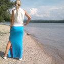 Nyári szoknya - summer turquoise (R010), Ruha, divat, cipő, Női ruha, Szoknya, Varrás, Nyári szoknya három szín kombinációjával, mely vonzza a tekintetet. Vékony elasztikus anyagból kész..., Meska
