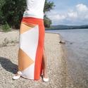 Nyári szoknya - summer dark orange (R017), Ruha, divat, cipő, Női ruha, Szoknya, Varrás, Nyári szoknya három szín kombinációjával, mely vonzza a tekintetet. Vékony elasztikus anyagból kész..., Meska