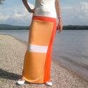 Nyári szoknya - summer dark orange (R018), Ruha, divat, cipő, Női ruha, Szoknya, Varrás, Nyári szoknya három szín kombinációjával, mely vonzza a tekintetet. Vékony elasztikus anyagból kész..., Meska