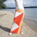 Nyári szoknya - summer light orange (R019), Ruha, divat, cipő, Női ruha, Szoknya, Varrás, Nyári szoknya három szín kombinációjával, mely vonzza a tekintetet. Vékony elasztikus anyagból kész..., Meska