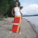 Nyári szoknya - summer light orange (R020), Ruha, divat, cipő, Női ruha, Szoknya, Varrás, Nyári szoknya három szín kombinációjával, mely vonzza a tekintetet. Vékony elasztikus anyagból kész..., Meska