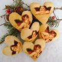Angyalkás szívek, Dekoráció, Baba-mama-gyerek, Otthon, lakberendezés, Karácsonyi, adventi apróságok, Varrás, Angyal mintás pamutvászonból készült szívek,arany színű akasztóval. Karácsonyfa dísznek,ajándékkísé..., Meska