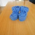 Magasszárú kék horgolt babacipő, Ruha, divat, cipő, Cipő, papucs, Gyerekruha, Baba (0-1év), Horgolás, Bababarát akril fonalból készült ez a babacipő, ami kocsicipőnek is nagyon alkalmas. 11cm-es talpho..., Meska