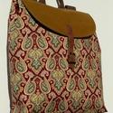 Színes hátizsák, Táska, Hátizsák, Varrás, Óarany színű, textilbőr hatású szövetből és megerősített pamutból készült jól pakolható, strapabíró..., Meska
