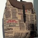Mindent bele-hátizsák újságmintával, Táska, Hátizsák, Varrás, Bútorszövetből készült nagyméretű, mindent elnyelő, nyúzható hátizsák.  Belsejében 1 táskaszéles ci..., Meska