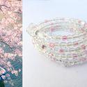 Cseresznyevirág_1, Ékszer, óra, Karkötő, Ékszerkészítés, Gyöngyfűzés, Teljes ámulatba ejtenek a Japánban március vége és május közepe között nyíló cseresznyefák virágai...., Meska