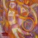 Bohócok bálja - olajfestmény, Képzőművészet , Festmény, Olajfestmény, Festészet, Két bohóc korcsolyázik az éjszakában, a farsangi bálon. A kompozíció a lila-narancs vibrálásra épül..., Meska