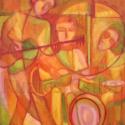 Kocsmazene - olajfestmény, Képzőművészet , Festmény, Olajfestmény, Festészet, A képet egy kis koncert ihlette, amit egy jazz-trió adott egy szórakozóhelyen. A kompozíciót vörös ..., Meska