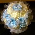 Esküv?i, menyasszonyi csokor szatén rózsákból, tüllel, Dekoráció, Esküv?, Ünnepi dekoráció, Esküv?i csokor, , Meska