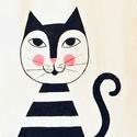 Cicamica mese, Táska, Válltáska, oldaltáska, Festett tárgyak, Cicamica vászon táskán,csak  macska kedvelőknek! Mérete:30x40cm Mesés,vidám,praktikus darab!, Meska