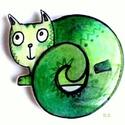 Hurka Macska, Dekoráció, Kép, Festett tárgyak, Festészet, Zöld,hurka alakban festett macska kis fatáblára,de kérésre textilre is festem (tarisznya,póló) Kép ..., Meska
