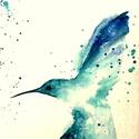 """Kék kolibri, Képzőművészet, Festmény, Napi festmény, kép, Festett tárgyak, Festészet, """"Tollas pillangó"""", tündérmesébe illő madárka. Vászonra festett minta,más színekkel is kérhető. Absz..., Meska"""
