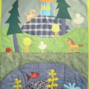 Állatkás falikép, Baba-mama-gyerek, Gyerekszoba, Falvédő, takaró, Falvédő, Patchwork, foltvarrás, Színes és mintás pamutvásznakból készítettem ezt a faliképet,  applikációs technikával kerültek rá ..., Meska
