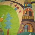 Manós falvédő, Baba-mama-gyerek, Gyerekszoba, Falvédő, takaró, Falvédő, Patchwork, foltvarrás,   Juli gondolatai alapján, folyamatos egyeztetéssel készült ez a textilrátétes falikép. Puha, bélel..., Meska