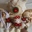 Piros virágos horgolt szett kislányoknak, Ékszer, óra, Ruha, divat, cipő, Ékszerszett, Hajbavaló, Ékszerkészítés, Horgolás, Kristálykövekkel és gyönggyel díszített, kézzel horgolt szett kislányoknak. A szett tartalma: nyakl..., Meska