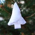 Hófehér karácsonyfadísz csipkével, Dekoráció, Karácsonyi, adventi apróságok, Karácsonyfadísz, , Meska