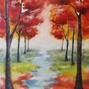 Őszi erdő, színes tájkép fákkal (művészi nyomat), Képzőművészet, Festmény, Grafika, Illusztráció, Fotó, grafika, rajz, illusztráció, Festészet, Az eredeti terméket vászonra festettem olaj festékkel, ez csupán egy REPRODUKCIÓ!   Kinyomtatott, m..., Meska