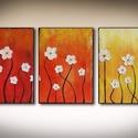 Fehér virágos absztrakt 3 részes művészeti nyomat, Képzőművészet, Festmény, Grafika, Illusztráció, Festészet, Fotó, grafika, rajz, illusztráció, Az eredeti terméket vászonra festettem olaj festékkel, ez csupán egy REPRODUKCIÓ!   Kinyomtatott, m..., Meska