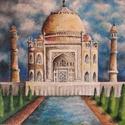 Taj Mahal tájkép művészi nyomat,reprodukció, Képzőművészet, Illusztráció, Grafika, Festmény, Festészet, Fotó, grafika, rajz, illusztráció, Az eredeti terméket vászonra festettem olaj festékkel, ez csupán egy REPRODUKCIÓ!   Kinyomtatott, m..., Meska