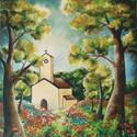 Templom az erdőben (reprodukció- művészi nyomat), Képzőművészet, Illusztráció, Festmény, Grafika, Fotó, grafika, rajz, illusztráció, Az eredeti terméket vászonra festettem olaj festékkel, ez csupán egy REPRODUKCIÓ!   Kinyomtatott, m..., Meska