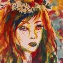 Színes lány absztrakt művészi nyomat, reprodukció, Képzőművészet, Festmény, Grafika, Illusztráció, Festészet, Fotó, grafika, rajz, illusztráció, Az eredeti terméket vászonra festettem olaj festékkel, ez csupán egy REPRODUKCIÓ!   Kinyomtatott, m..., Meska