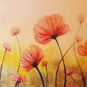Piros virágok művészi nyomat, reprodukció, Képzőművészet, Festmény, Grafika, Illusztráció, Festészet, Fotó, grafika, rajz, illusztráció, Az eredeti terméket vászonra festettem olaj festékkel, ez csupán egy REPRODUKCIÓ!   Kinyomtatott, m..., Meska