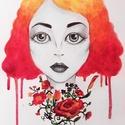 Virágos absztrakt női arc rajz - festmény művészi nyomat, reprodukció, Képzőművészet, Festmény, Grafika, Illusztráció, Festészet, Fotó, grafika, rajz, illusztráció, Az eredeti terméket kemény lapra rajzoltam,majd festettem, ez csupán egy REPRODUKCIÓ!   Kinyomtatot..., Meska